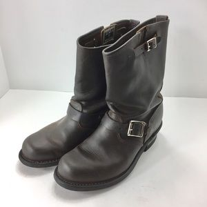 FRYE Veronica Short Boot Buckle Brown Leather 9B
